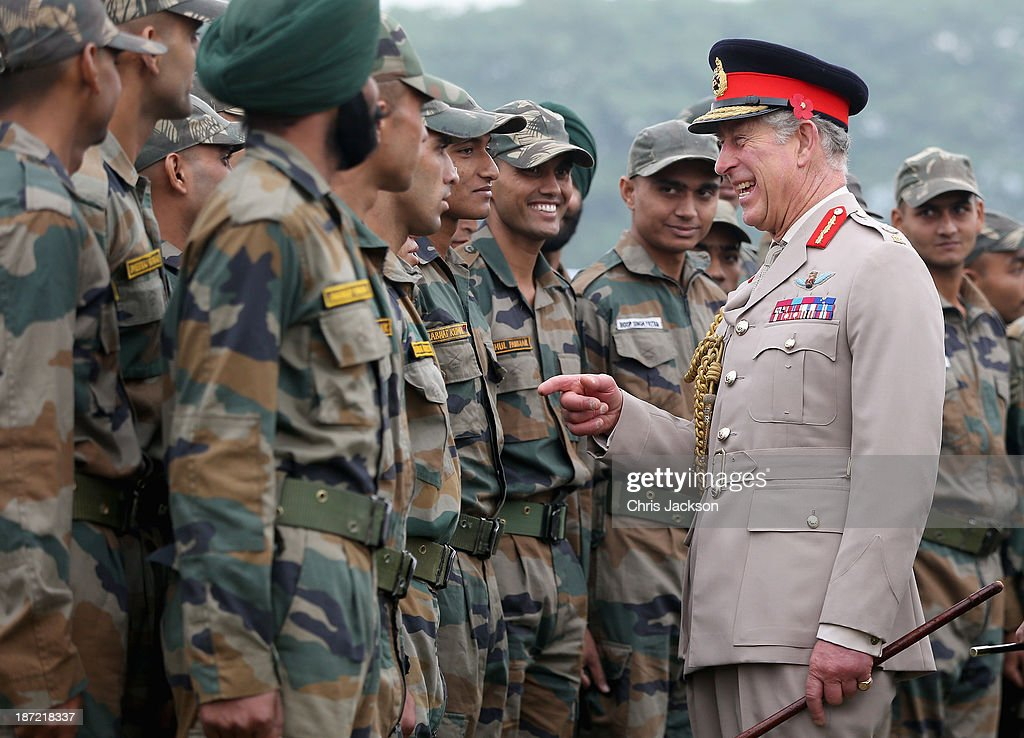 <a gi-track='captionPersonalityLinkClicked' href=/galleries/search?phrase=Prince+Charles&family=editorial&specificpeople=160180 ng-click='$event.stopPropagation()'>Prince Charles</a>, Prince of Wales meets troops during a visit to the Indian Military Academy during day 2 of an official visit to India on November 7, 2013 in Dehradun, India. This will be the Royal couple's third official visit to India together and their most extensive yet, which will see them spending nine days in India and afterwards visiting Sri Lanka in order to attend the 2013 Commonwealth Heads of Government Meeting.