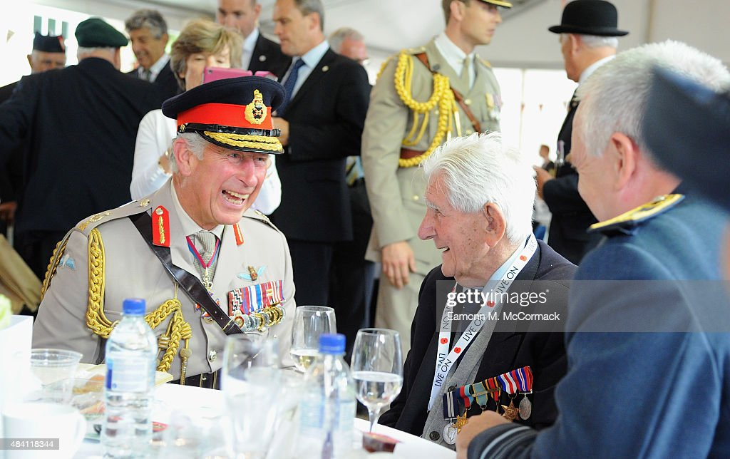 Prince Charles, Prince of Wales meets veterans during the 70th Anniversary commemorations of VJ Day (Victory over Japan) at the Royal British Legion reception in the College Gardens, Westminster Abbey on August 15, 2015 in London, England. The event marks the 70thanniversary of the surrender of Japanese Forces, bringing about the end of World War II. Queen Elizabeth II and Prince Philip, Duke of Edinburgh will join British Prime Minister David Cameron and former prisoners of war during services throughout the day as tributes are made to the the estimated 71,244 British and Commonwealth casualties of the Far East conflict. Japan formally surrendered on September 2, 1945 at a ceremony in Tokyo Bay on USS Missouri.