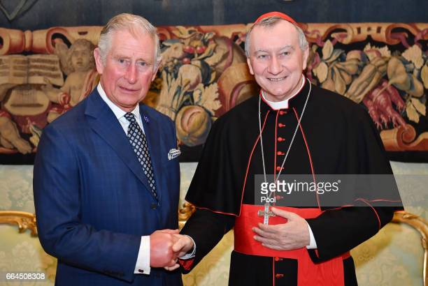 Prince Charles Prince of Wales meets with Cardinal Pietro Parolin on April 4 2017 in Vatican City Vatican