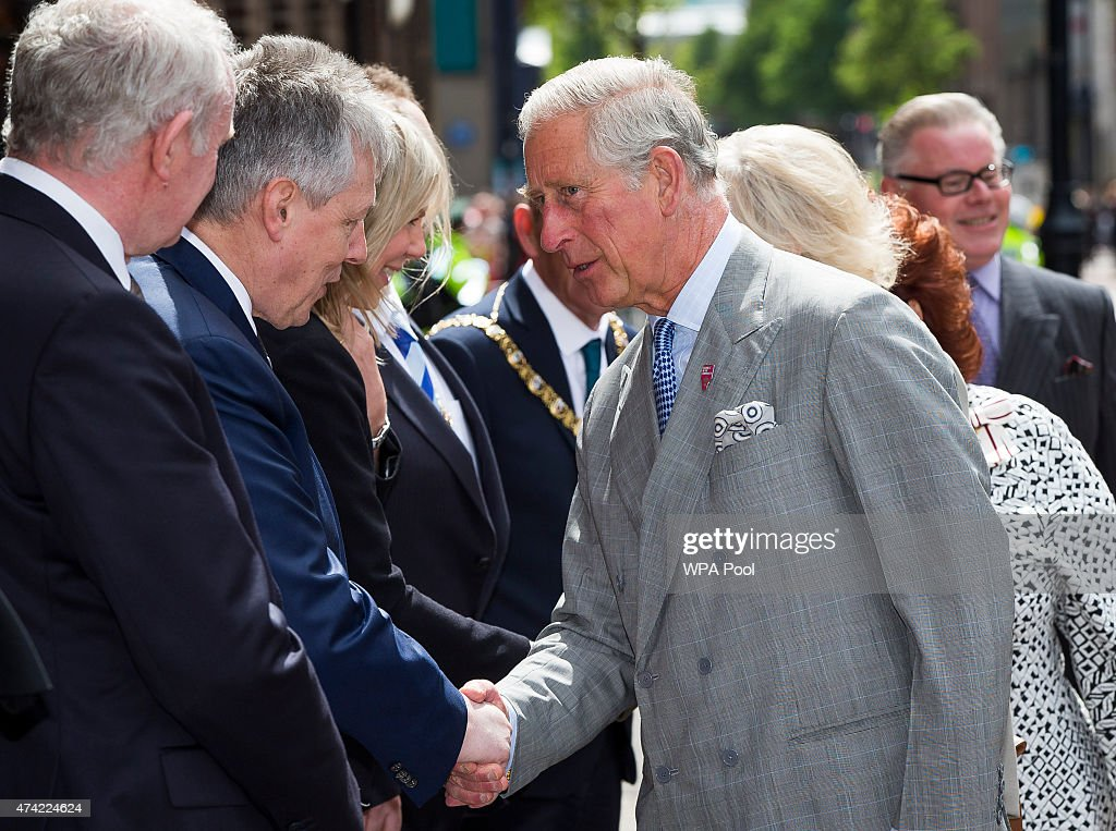 Prince Charles, Prince of Wales meets with First Minister Peter Robinson and Deputy First Minister Martin McGuinness during a visit to St Patricks Church on May 21. 2015 in Belfast, Northern Ireland. Prince of Wales and the Duchess of Cornwall will attend a series of engagements in Northern Ireland following their visit in the Republic of Ireland.