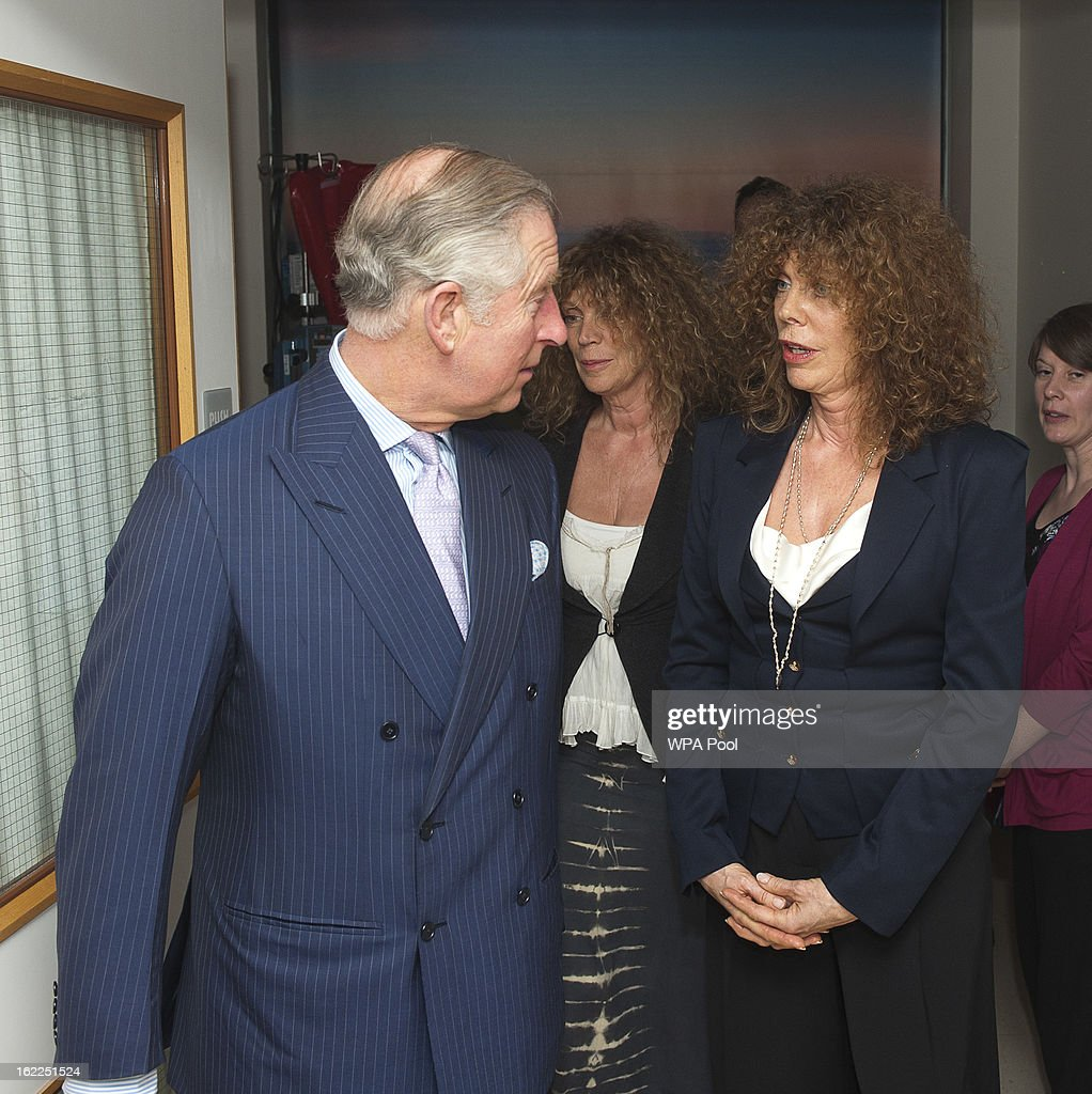 Prince Charles, Prince of Wales meets with fundraising twins Vicky Lord and Jacky Pace at Great Ormond Street Children's hospital on February 21, 2013 in London, England.