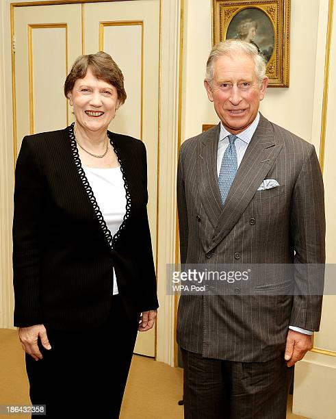 Prince Charles Prince of Wales meets with Helen Clark the former Prime Minister of New Zealand in the Garden room at Clarence House on October 31...