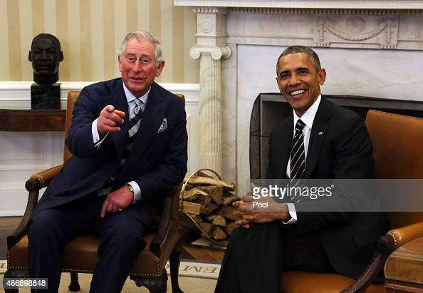 Prince Charles Prince of Wales meets with President of the United States of America Barack Obama in the Oval Office in the White House March 19 2015...