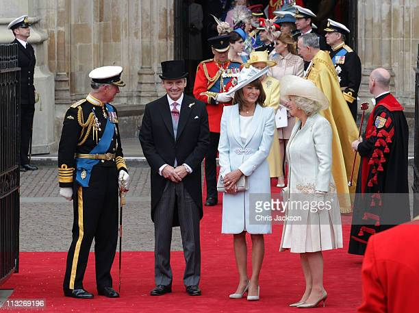 Prince Charles Prince of Wales Michael Middleton Carole Middleton and Camilla Duchess of Cornwall speak following the marriage of Prince William Duke...