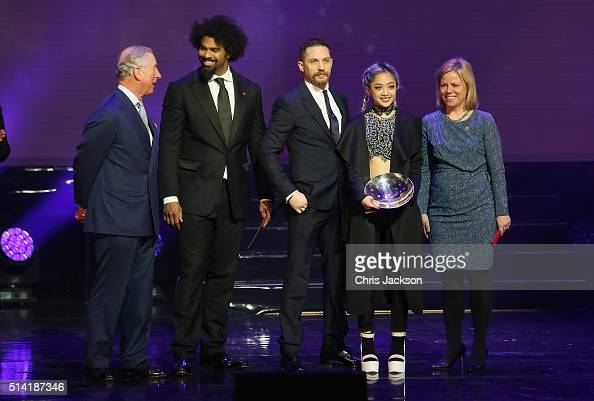 Prince Charles Prince of Wales on stage with Breakthrough Award winner Laine Esperanzate boxer David Haye actor Tom Hardy during the Prince's Trust...