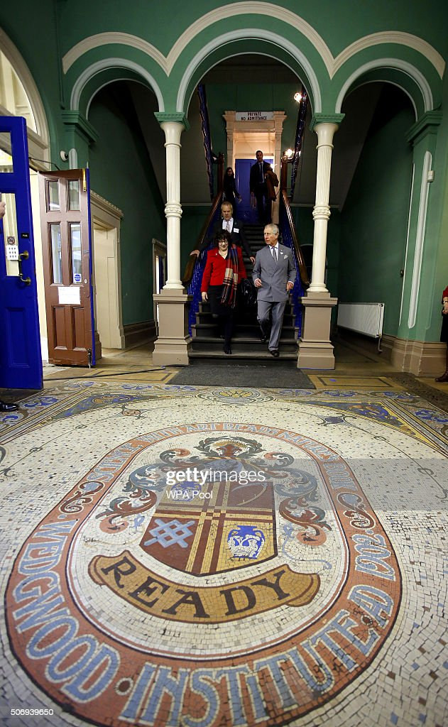 Prince Charles Prince of Wales Patron and Founder of the Prince's Regeneration Trust during a visit to The Wedgewood Institute to see the results of...