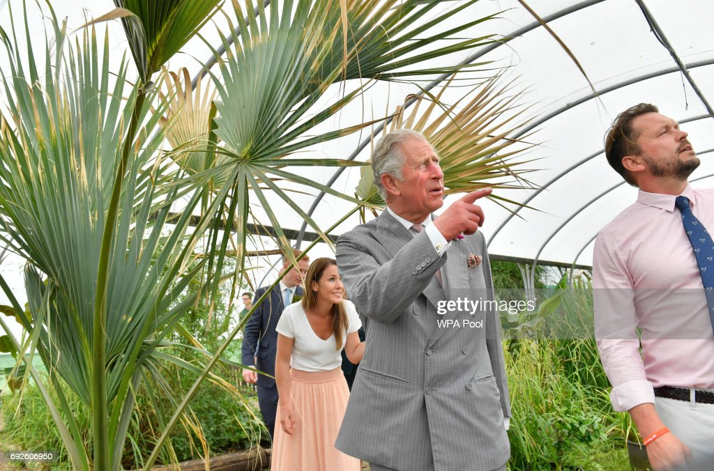 Prince Charles, Prince of Wales, Patron, The Rare Breeds Survival Trust, is accompanied by Jimmy and Michaela Doherty as he visits Jimmy's Farm to meet the trust's new President, Jimmy Doherty, and find out more about his farm's education and rare breeds programme on June 5, 2017 in Ipswich, England.