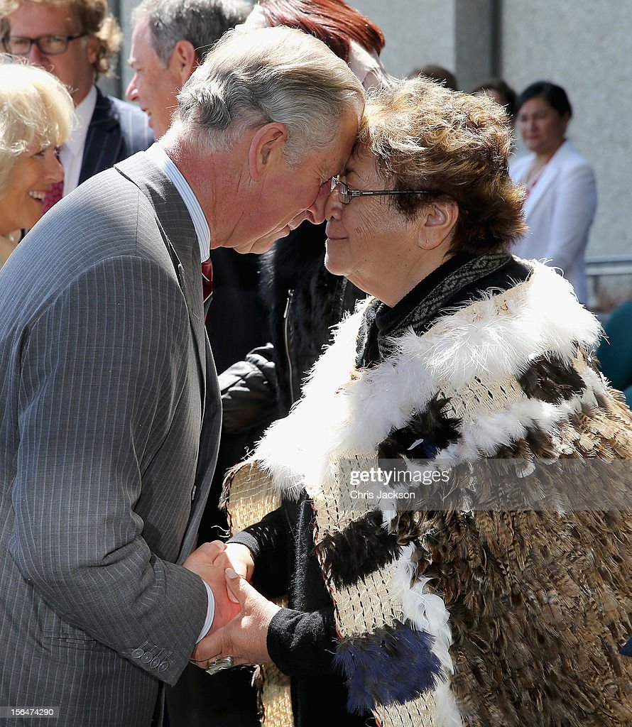 <a gi-track='captionPersonalityLinkClicked' href=/galleries/search?phrase=Prince+Charles+-+Prince+of+Wales&family=editorial&specificpeople=160180 ng-click='$event.stopPropagation()'>Prince Charles</a>, Prince of Wales performs a traditional hongi greeting outside the Council House during a visit to Christchurch on November 16, 2012 in Christchurch, New Zealand. The Dance-O-Mat was set up to give people the opportunity to keep dancing after many of the venues were destroyed by the earthquake of 2010. The Royal couple are in New Zealand on the last leg of a Diamond Jubilee that takes in Papua New Guinea, Australia and New Zealand.
