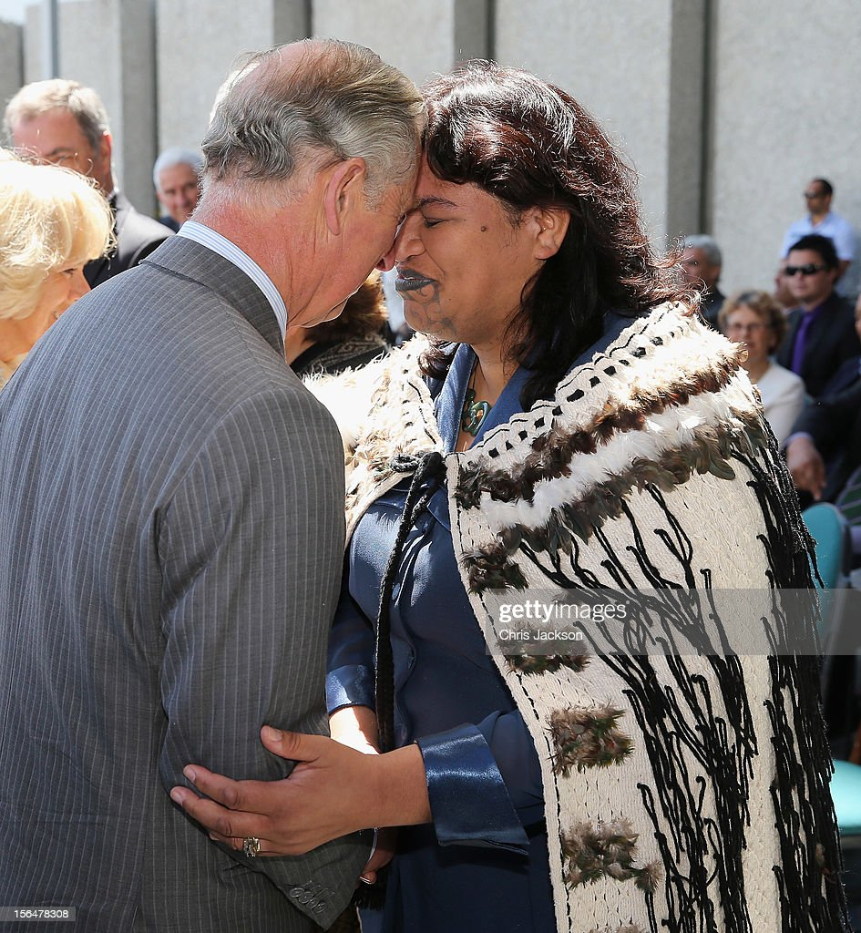 Prince Charles, Prince of Wales performs a traditional hongi greeting outside the Council House during a visit to Christchurch on November 16, 2012 in Christchurch, New Zealand. The Dance-O-Mat was set up to give people the opportunity to keep dancing after many of the venues were destroyed by the earthquake of 2010. The Royal couple are in New Zealand on the last leg of a Diamond Jubilee that takes in Papua New Guinea, Australia and New Zealand.
