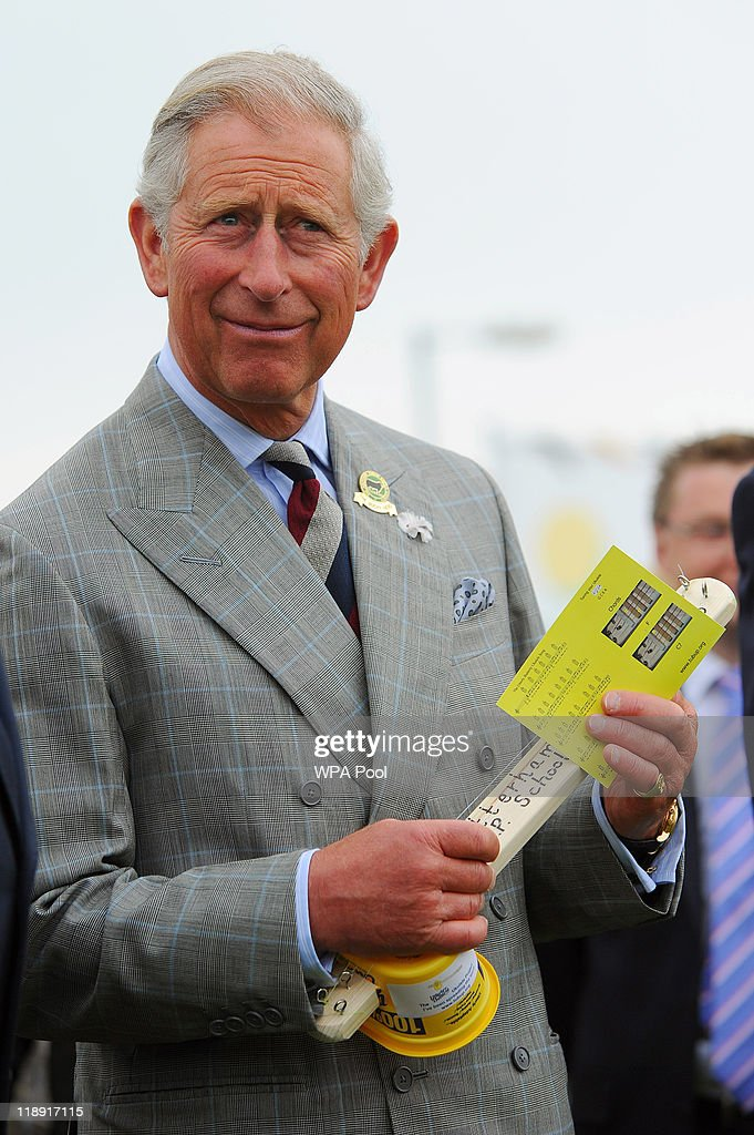<a gi-track='captionPersonalityLinkClicked' href=/galleries/search?phrase=Prince+Charles&family=editorial&specificpeople=160180 ng-click='$event.stopPropagation()'>Prince Charles</a>, Prince of Wales plays a ukulele made from a margarine tub while visiting the Dairy Crest creamery on July 12, 2011 in Davidstow, Cornwall, England.