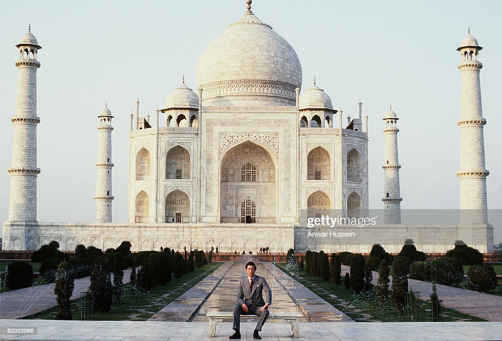 Prince Charles, Prince of Wales poses outside the Taj Mahal during his visit to India in 1980. Twelve years later the Princess of Wales posed alone in the same spot bringing attention to the loneliness of her marriage.