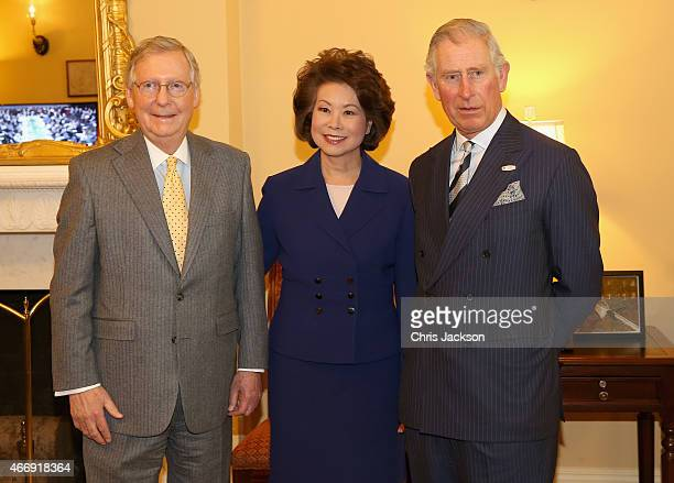 Prince Charles Prince of Wales poses with Leader of the Senate Mitch McConnell and his wife Elaine Chao in the Capitol Building on the third day of a...