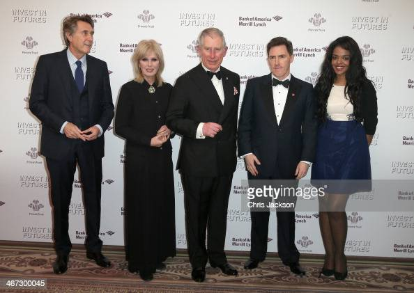 Prince Charles Prince of Wales poses with singer Bryan Ferry actress Joanna Lumley Rob Brydon and Prince's Trust Young Ambassador Naima Swaleh at a...