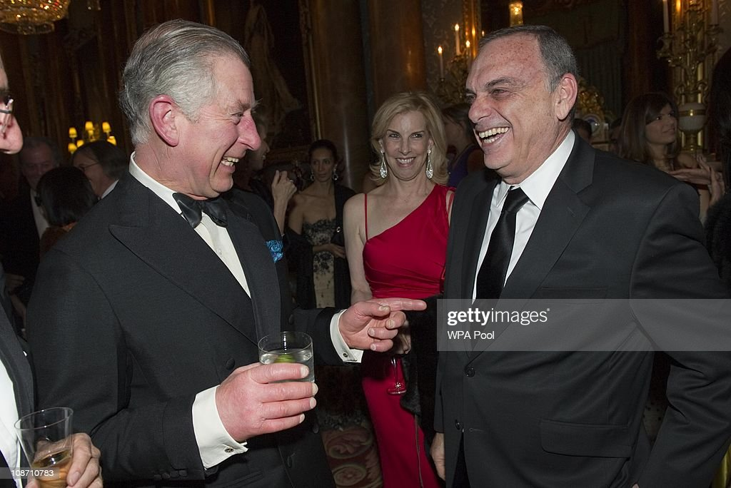 Prince Charles, Prince of Wales, President of The Prince's Foundation for Children and the Arts talks with West Ham manager <a gi-track='captionPersonalityLinkClicked' href=/galleries/search?phrase=Avram+Grant&family=editorial&specificpeople=4506029 ng-click='$event.stopPropagation()'>Avram Grant</a> at a charity gala dinner and theatrical performance for supporters of the The Prince's Foundation for Children and the Arts at Buckingham Palace on February 1, 2011 in London, England.