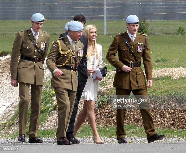 Prince Charles Prince of Wales Prince Harry and Chelsy Davy attend Prince Harry's Pilot Course Graduation at the Army Aviation Centre on May 7 2010...