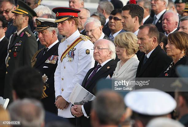 Prince Charles Prince of Wales Prince Harry Irish President Michael Higgins his wife Sabina Higgins and Australian Prime Minister Tony Abbott attend...