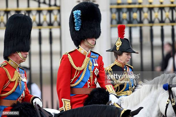 Prince Charles Prince of Wales Prince William Duke of Cambridge and Prince Anne Princess Royal attend Trooping the Colour this year marking the...