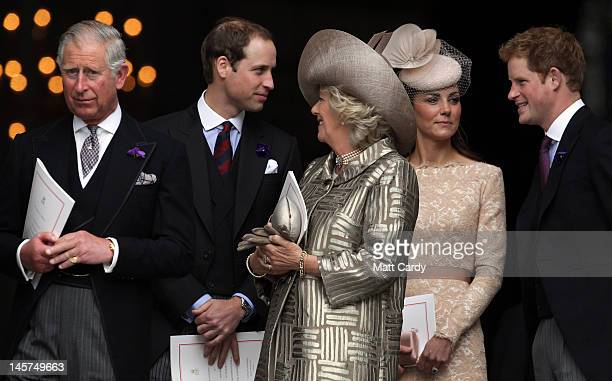 Prince Charles Prince of Wales Prince William Duke of Cambridge Camilla Duchess of Cornwall Catherine Duchess of Cambridge and Prince Harry leave a...