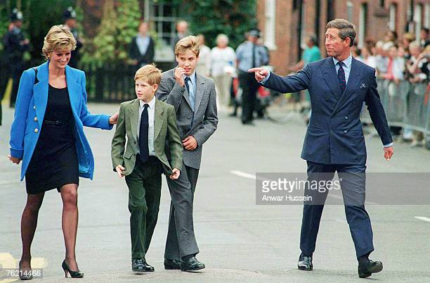 Prince Charles Prince of Wales Princess Diana Princess of Wales their sons Prince William and Prince Harry arrive at Eton College for William's first...