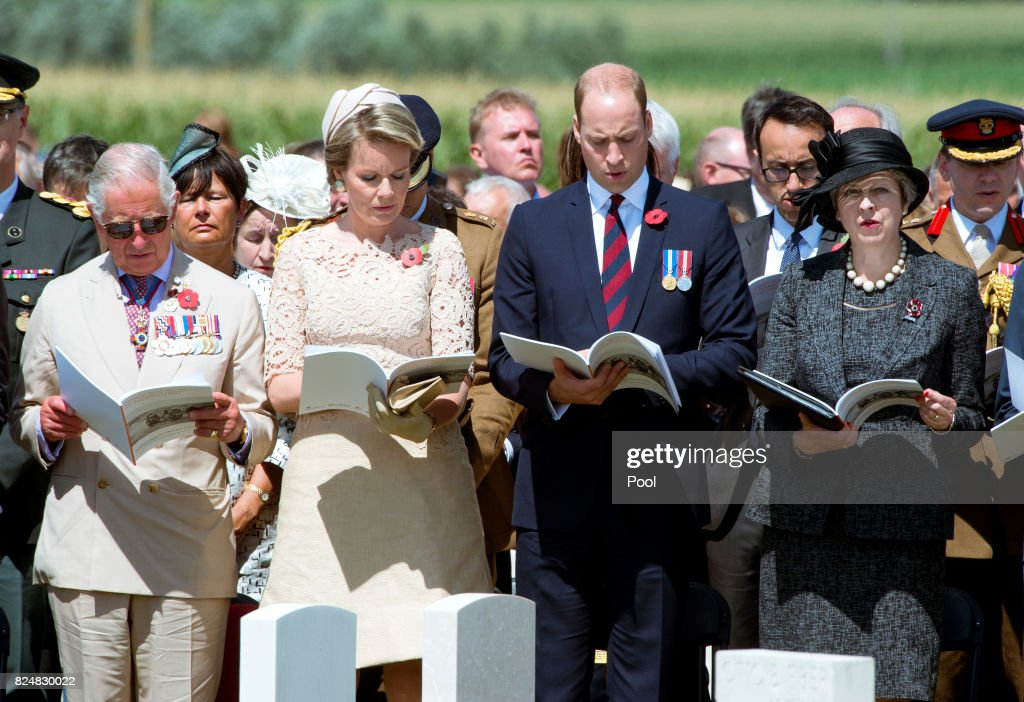 Prince Charles, Prince of Wales, Queen Mathilde of Belgium, Prince William, Duke of Cambridge and Prime Minister Theresa May during a ceremony at the Commonwealth War Graves Commisions's Tyne Cot Cemetery on July 31, 2017 in Ypres, Belgium. The commemorations mark the centenary of Passchendaele - The Third Battle of Ypres.
