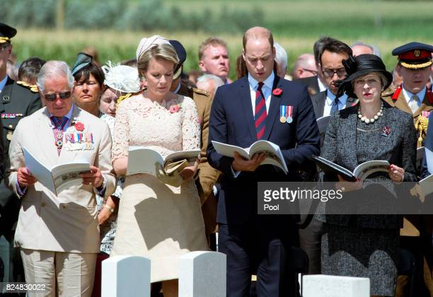 Prince Charles Prince of Wales Queen Mathilde of Belgium Prince William Duke of Cambridge and Prime Minister Theresa May during a ceremony at the...