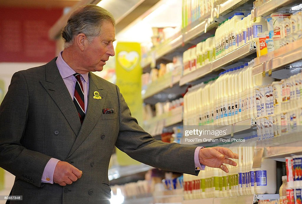 <a gi-track='captionPersonalityLinkClicked' href=/galleries/search?phrase=Prince+Charles&family=editorial&specificpeople=160180 ng-click='$event.stopPropagation()'>Prince Charles</a>, Prince of Wales reaches for a carton of milk during a tour of Booths Supermarket in Kendal, on March 31, 2008 in Cumbria, England.