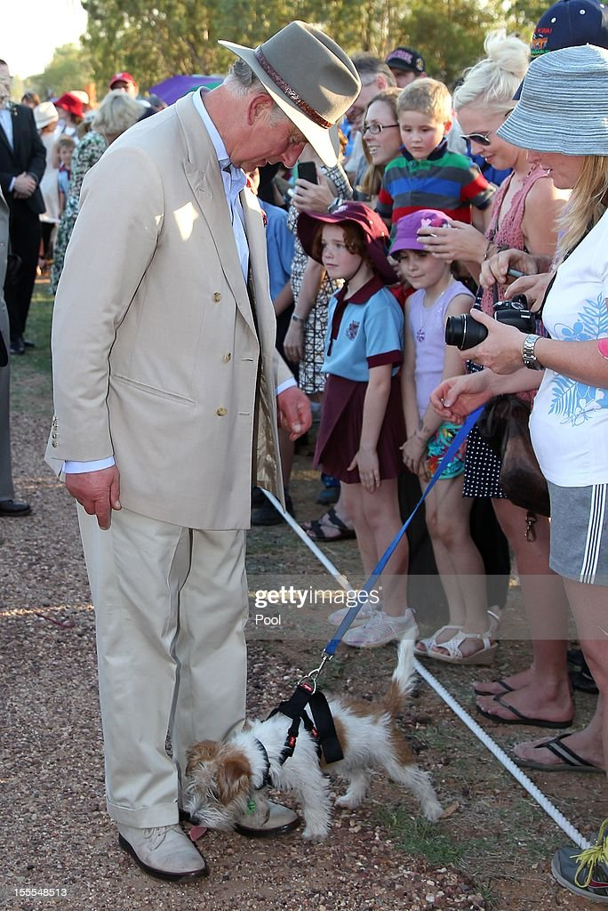Prince Charles, Prince of Wales reacts as a dog licks his shoe after arriving in Longreach on November 05, 2012 in Longreach, Australia. The Royal couple are in Australia on the second leg of a Diamond Jubilee Tour taking in Papua New Guinea, Australia and New Zealand.