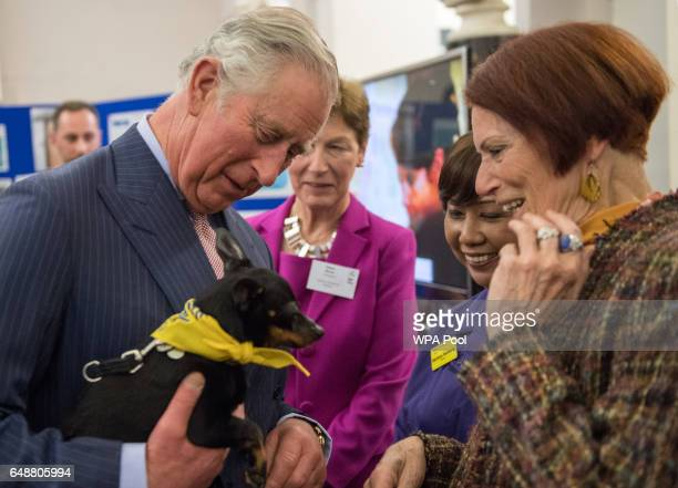 Prince Charles Prince of Wales reacts as he meets Matron Darlene Romaro and volunteer Diana Mukuma and her dog 'Little Doris' during his visit to St...