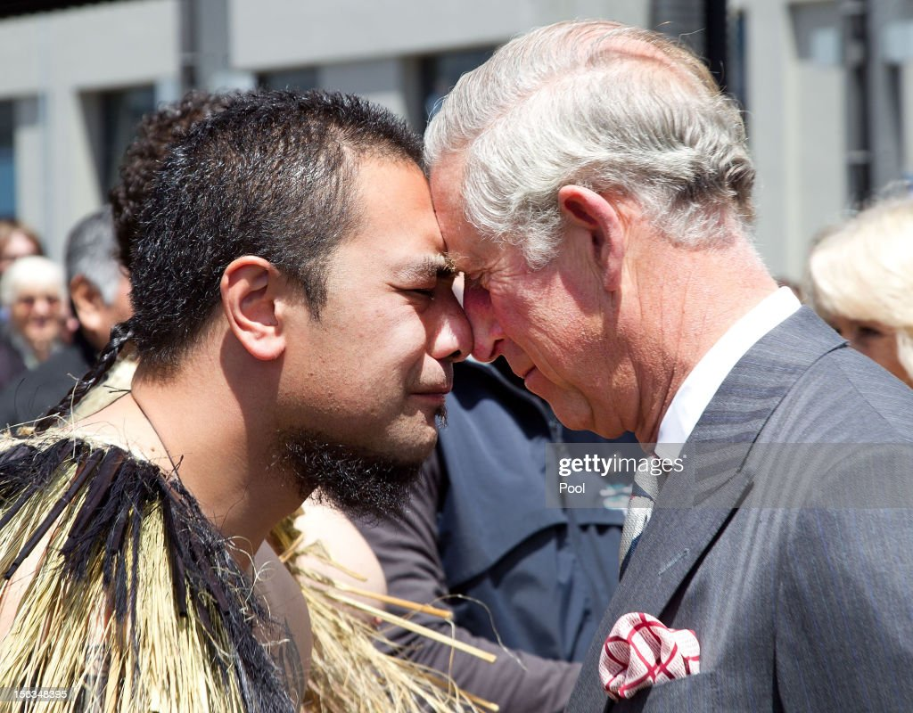 Prince Charles, Prince of Wales receives a Hongi from a Maori warrior during a waterfront walk on November 14, 2012 in Wellington, New Zealand. The Royal couple are in New Zealand on the last leg of a Diamond Jubilee that takes in Papua New Guinea, Australia and New Zealand.