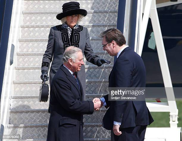 Prince Charles Prince of Wales shake hands with the Aleksandar Vucic Prime Minister of Serbia and Camilla Duchess of Cornwall arrive at Belgrade...