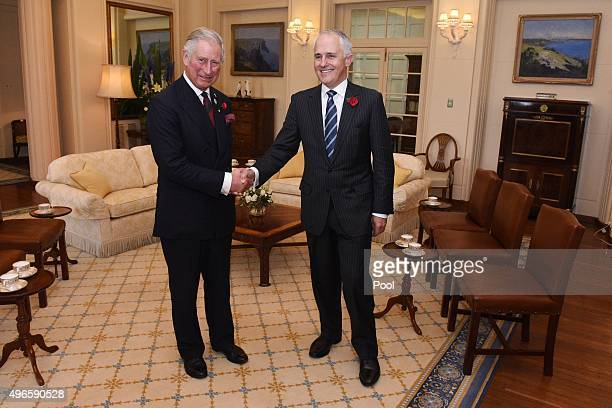 Prince Charles Prince of Wales shakes hands with Australian Prime Minister Malcolm Turnbull at Government House on November 11 2015 in Canberra...