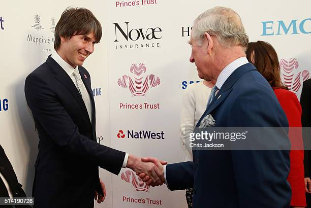 Prince Charles Prince of Wales shakes hands with Brian Cox during the Prince's Trust Celebrate Success Awards at the London Palladium on March 7 2016...