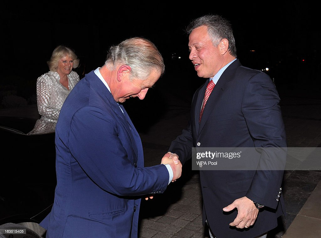 Prince Charles, Prince of Wales shakes hands with King Abdullah of Jordan, as they arrive for a private dinner on March 11, 2013 in Amman, Jordan. Prince Charles, the Prince of Wales and Camilla, Duchess of Cornwall are on a nine day tour of the Middle East, during which they are visiting Jordan, Qatar, Saudi Arabia and Oman.
