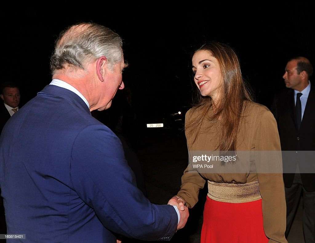 Prince Charles, Prince of Wales shakes hands with Queen Rania of Jordan as they arrive for a private dinner on March 11, 2013 in Amman, Jordan. Prince Charles, the Prince of Wales and Camilla, Duchess of Cornwall are on a nine day tour of the Middle East, during which they will be visiting Jordan, Qatar, Saudi Arabia and Oman.