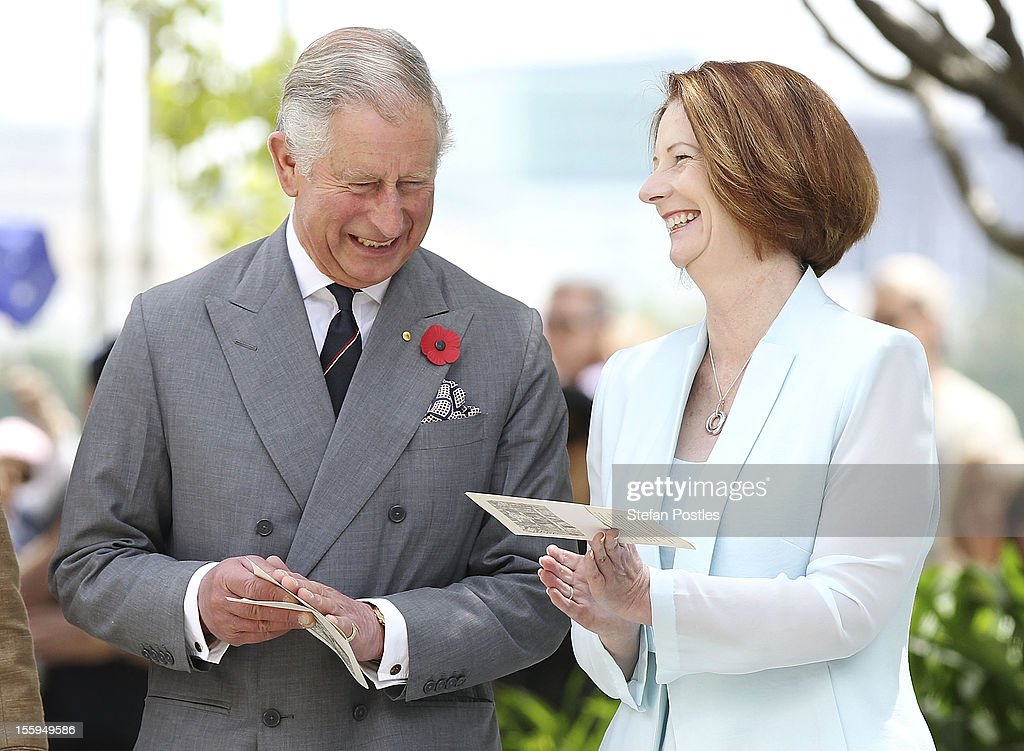Prince Charles, Prince of Wales shares a laugh with Prime Minister <a gi-track='captionPersonalityLinkClicked' href=/galleries/search?phrase=Julia+Gillard&family=editorial&specificpeople=787281 ng-click='$event.stopPropagation()'>Julia Gillard</a> during the naming of Queen Elizabeth Terrace on November 10, 2012 in Canberra, Australia. The Royal couple are in Australia on the second leg of a Diamond Jubilee Tour taking in Papua New Guinea, Australia and New Zealand.