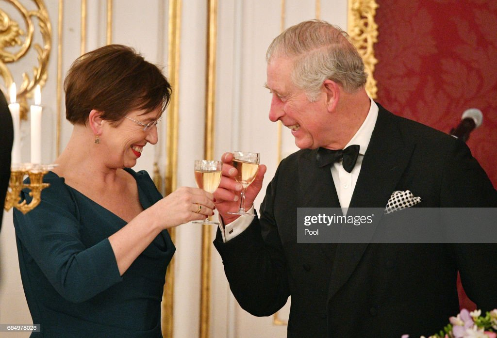 Prince Charles, Prince of Wales shares a toast with Doris Schmidauer at the Hofburg Palace during a State Dinner on April 5, 2017 in Vienna, Austria. Her Royal Highness will accompany the First Lady on a tour of the presidential apartments whilst His Royal Highness and the President hold a bilateral discussion with the Austrian and British delegations.