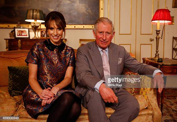 Prince Charles Prince of Wales sits alongside TV presenter Alex Jones as he meets young people involved in social action via his first ever Google...