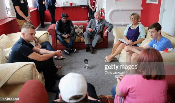 Prince Charles Prince of Wales sits on a sofa with Jamal Edwards during a live session at the launch of the Prince's Trust Summer Sessions at the...