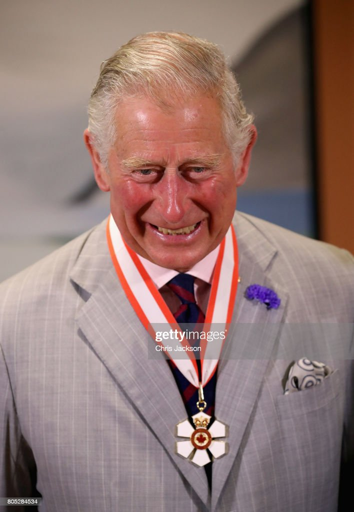 Prince Charles, Prince of Wales smiles as he is presented with the Order of Canada at Rideau Hall during a 3 day official visit to Canada on July 1, 2017 in Ottawan, Canada.