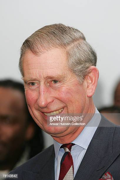 Prince Charles Prince of Wales smiles as he watches a rehearsal of Shakespeare's 'A Midsummer Night's Dream' at Harlem Children's Zone on January 28...
