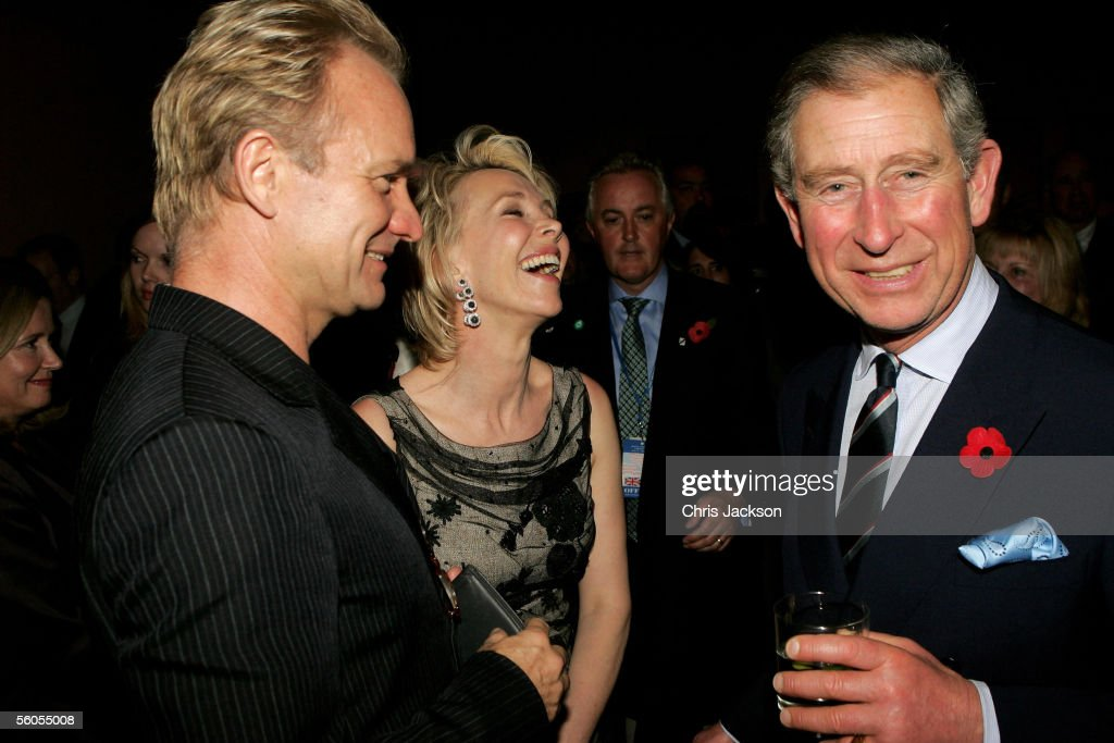 <a gi-track='captionPersonalityLinkClicked' href=/galleries/search?phrase=Prince+Charles+-+Prince+of+Wales&family=editorial&specificpeople=160180 ng-click='$event.stopPropagation()'>Prince Charles</a>, Prince of Wales (R), smiles while chatting with singer <a gi-track='captionPersonalityLinkClicked' href=/galleries/search?phrase=Sting+-+Singer&family=editorial&specificpeople=220192 ng-click='$event.stopPropagation()'>Sting</a> and wife <a gi-track='captionPersonalityLinkClicked' href=/galleries/search?phrase=Trudie+Styler&family=editorial&specificpeople=203268 ng-click='$event.stopPropagation()'>Trudie Styler</a> during the Museum of Modern Art (MOMA) reception on the first day of the royal eight-day visit to the U.S., on November 1, 2005 in New York City.