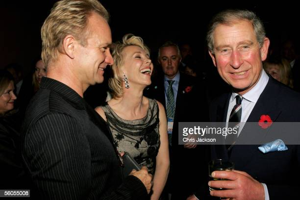Prince Charles Prince of Wales smiles while chatting with singer Sting and wife Trudie Styler during the Museum of Modern Art reception on the first...