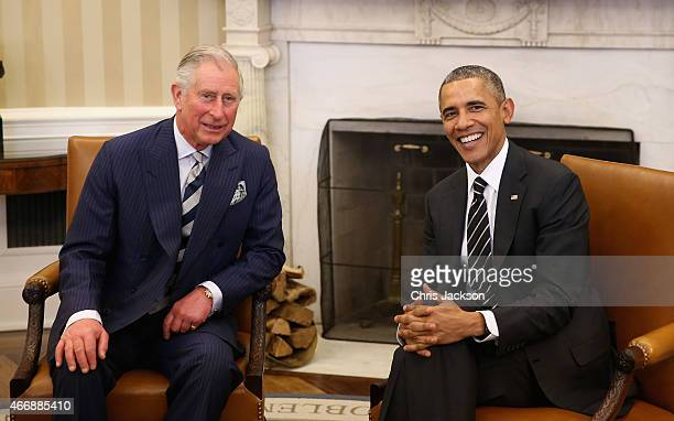 Prince Charles Prince of Wales smiles with President of the United States of America Barack Obama in the Oval Office on the third day of a visit to...