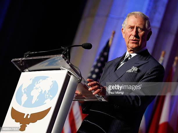 Prince Charles Prince of Wales speaks after being presented with the International Conservation Caucus Foundation Teddy Roosevelt Award for...