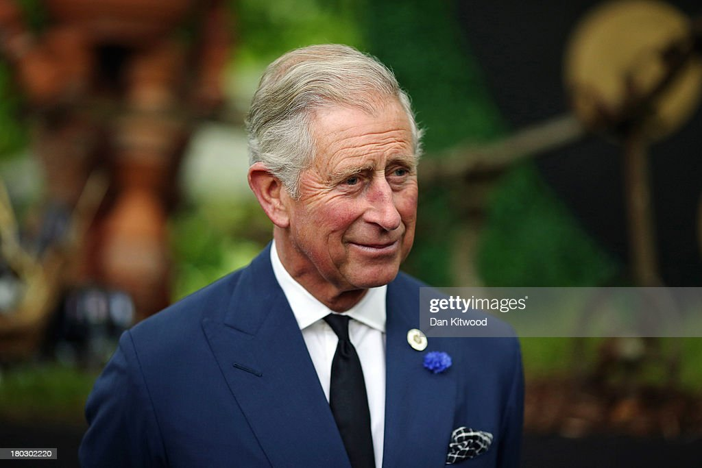 Prince Charles Prince of Wales speaks to guests during a reception to celebrate the 21st anniversary of Duchy originals products at Clarence House on...