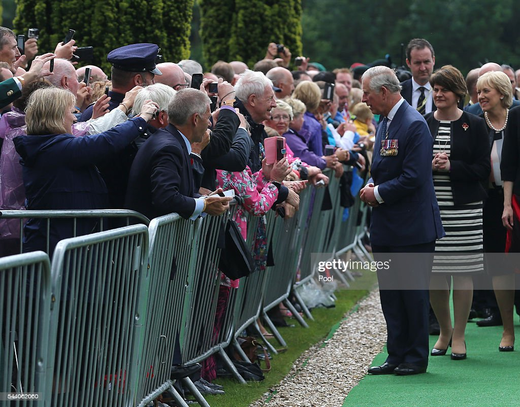 Prince Charles, Prince of Wales, speaks to members of the public as he arrives at the Ulster Memorial Tower during a service to mark the 100th anniversary of the start of the battle of the Somme on July 1, 2016 in Thiepval, France. The event is part of the Commemoration of the Centenary of the Battle of the Somme at the Commonwealth War Graves Commission Thiepval Memorial in Thiepval, France, where 70,000 British and Commonwealth soldiers with no known grave are commemorated.
