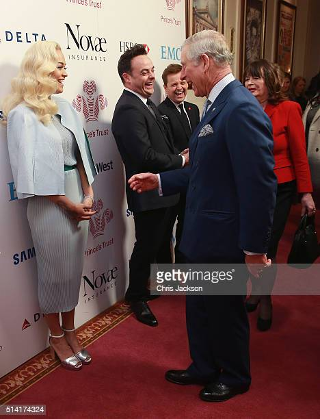 Prince Charles Prince of Wales speaks to Rita Ora as they attend The Prince's Trust Celebrate Success Awards at London Palladium on March 7 2016 in...