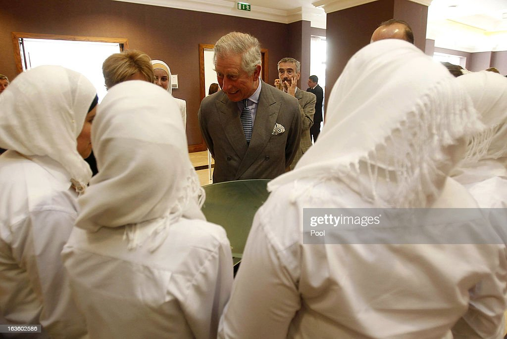 <a gi-track='captionPersonalityLinkClicked' href=/galleries/search?phrase=Prince+Charles+-+Prince+of+Wales&family=editorial&specificpeople=160180 ng-click='$event.stopPropagation()'>Prince Charles</a>, Prince of Wales speaks with Jordanian school students particpating in a British funded competition run by a local Non-Governmental Organisation (NGO) on March 13, 2013 in Amman, Jordan. INJAZ and Moasic initative, with the support from the British Embassy and the Department for International Development (UKAID) holds the final Enterprise Challenge competition between sholl students across the Kingdom. The Royal couple are on the first leg of a tour of the Middle East taking in Qatar, Saudia Arabia and Oman.