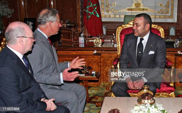 Prince Charles Prince of Wales speaks with King Mohammed VI of Morocco during an audience at The Palace Royal on April 4 2011 in Rabat Morocco Prince...