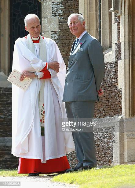 Prince Charles Prince of Wales stands at the Church of St Mary Magdalene on the Sandringham Estate for the Christening of Princess Charlotte of...